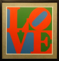 Love Poster by Robert Indiana. Image size 26 x 26 inches. Frame size 34 x 34 images.
