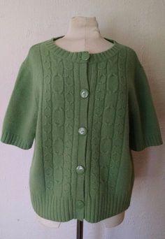 Deane & White Cardigan Sweater XL Green Short Sleeve Cardigan Wool Rabbit Hair #DeaneWhite #Cardigan