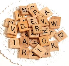 Vintage Scrabble Letters. Scrabble Tiles. Board Games. Game Pieces. Wood Tiles. Black Letters. Scrapbooking. Scrabble Pieces. Mixed Media. by ThePaperBasket on Etsy https://www.etsy.com/listing/181283064/vintage-scrabble-letters-scrabble-tiles