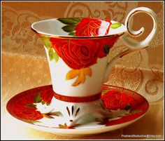 "Exquisite footed cup and saucer duo by Decor du Galion Limoges ""So French"" with rich gilded red roses pattern to take your breath away"