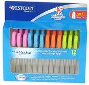 Westcott Soft Handle Kids Scissors with Anti-microbial Protection, Assorted Colors, 5-Inch Blunt, 12 Pack (14873)