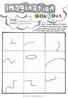 Workout your creative brain with this activity for initiating a creativity boost! More Activities at FEEDINGSTICKFIGURES Learning Activities, Activities For Kids, Drawing Activities, Art Therapy Activities, Middle School Art, Art School, Art Worksheets, School Art Projects, Home Schooling