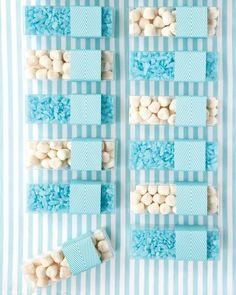 Whatever candies you choose, keep them on-palette, like this bride and groom who offered cotton candy-flavored rock candy and Jelly Belly Champagne bubbles in clear favor boxes that coordinated with their wedding décor. Modern Wedding Favors, Plant Wedding Favors, Creative Wedding Favors, Edible Wedding Favors, Wedding Candy, Wedding Decorations, Wedding Ideas, Nautical Wedding, Fall Wedding