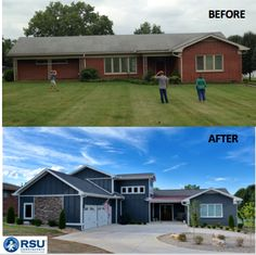 Whole House Transformation   Big projects come with big rewards. RSU transformed this 2200 square foot lake house into a 5000 square foot dream home. The Home Owners could not be happier as the RSU team enjoys the housewarming party  #house #remodel #wholehouseremodel #lakehouse
