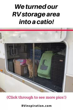 We created a catio for our cat under our RV using screen protector panels. Read the article for more pics! Camper Life, Rv Campers, Rv Life, Camper Trailers, Travel Trailers, Teardrop Campers, Teardrop Trailer, Happy Campers, Living With Cats