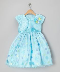 Take a look at this Turquoise Polka Dot Dress & Shrug - Toddler & Girls by Pretty Me on #zulily today!