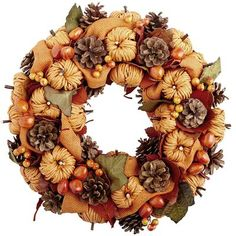 Natural Pinecone Wreath with Pumpkins  Pier 1 (2014)
