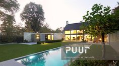Strakke tuin met modern zwembad en uniek poolhouse PUUR groenprojecten tuinarchitectuur - tuinaanleg  Alken