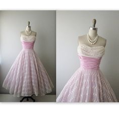 Reserved for Saffron 50s Prom Dress // Vintage 1950s Embroidered Chiffon Wedding Party Prom Dress S