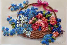 Red and blue flowers in a basket #ribbonEmbroidery