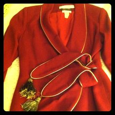 Vintage Lilly Rubin 100 percent pure wool Crepe. 8 Vintage LILLIE RUBIN 100 PERCENT WOOL CREPE BLAZER WITH CROSS OVER THIS IS A RED SMOKING JACKET WITH GOLD TRIM CLOSURE WITH A BULIT IN BELT WITH GOLD TASSLE'S THIS TO ME LOOKS VERY 1940s ex condition !!! Made in the USA ladies size 8 THIS IS SO AUDREY HEPBERN FURTHER RESEARCH LILLIE RUBIN 1930s TO 1940s HAD A SMALL MILLINERY SHOP IN NYC BUT SHE HAS DRESSES ALSO THIS TIME PERIOD LILLIE RUBIN  Jackets & Coats