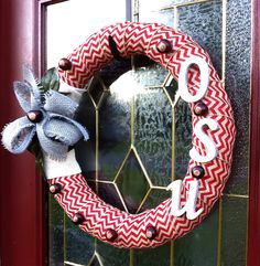 "Red Chevron & Gray Burlap Bow, Ohio State Wreath, 18"" on Etsy, $40.00"