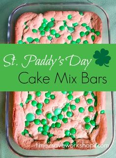 St. Paddy's Day Cake Mix Bars recipe.  Looking for a simple and yummy treat to make on St. Patrick's Day?  It doesn't get much easier than these St. Paddy's Day bars that come straight from a cake mix! Just a word of warning those, these are highly addictive!