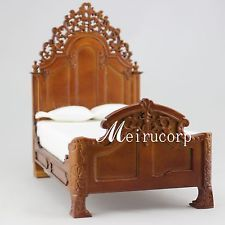 Dollhouse 1:12 scale Fine Miniature furniture grand bed carved Handcrafted Meirucorp