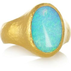 Gurhan Paradiso hammered 24-karat gold opal ring ($8,140) ❤ liked on Polyvore featuring jewelry, rings, blue, fine jewelry, opal jewelry, hammered ring, 24 karat gold ring, gurhan and gurhan jewelry