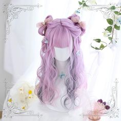 Japanese Fashion Harajuku Double Colors Long Curly Wigs Lolita Wigs Daily Wigs sold by lolita store. Shop more products from lolita store on Storenvy, the home of independent small businesses all over the world. Long Thin Hair, Medium Long Hair, Long Curls, Face Shape Hairstyles, Down Hairstyles, Cute Hairstyles, Kawaii Wigs, Kawaii Hairstyles, Pink Wig