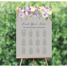 Personalised Grey and Lilac Flowers Wedding Table / Seating Plan Wedding Table Seating, Wedding Table Names, Wedding Table Flowers, Lilac Wedding, Floral Wedding, Dream Wedding, Fairy Lights Wedding, Wedding Posters, Flower Lights