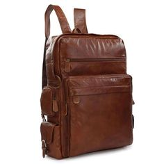 115.66$  Buy here - http://alizql.worldwells.pw/go.php?t=1358365702 - Vintage Leather Classic Applied Backpack Large Travel Tote Laptop Bag 7078B