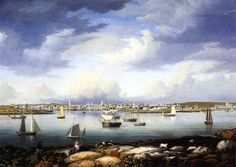 """Gloucester from Rocky Neck"", Fitz Henry Lane, 1844, oil on canvas, 29.5 x 41.5"", Cape Ann Historical Association."