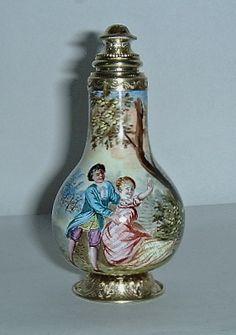 Fine 19c Viennese Enamel Gilt Silver Perfume Scent Bottle | eBay