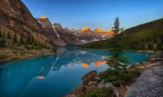 Moraine Lake - Been busy with moving and stuff recently. Anyways, here's one from my trip to Banff. I'd wanted to go there for ages. So...was it as awesome as the pics? I'm glad to report it was entirely waaaay more awesome than any photo could convey. If you ever get a chance go to Banff. Not only are there pretty lakes like this one below, but some of the best drives I've seen anywhere in the world!