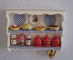estante, lleno, estilo rural, duodécima escala, miniatura casa de muñecas