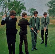 The Beatles playing golf at the Indianapolis Motor Speedway (Speedway, Indiana) golf course, back in 1964.