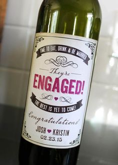 Personalize Engagement wine bottle labels are available at Boardman Printing. order yours today! Engagement Gifts For Couples, Engagement Party Gifts, Wedding Engagement, Engagement Presents, Mini Wine Bottles, Wine Bottle Labels, Personalized Wine Bottles, Champagne Label, Mini Champagne