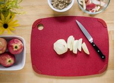 Recycled plastic cutting board from Epicurean. Chic and modern Recycled Poly cutting boards are environmentally responsible, knife friendly, and dishwasher safe. Removable non-slip corners keep them from slipping on slick surfaces, while allowing sanitary cleanup with water and mild detergent.