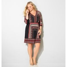 Avenue Plus Size Aztec Border Blouson Dress ($36) ❤ liked on Polyvore featuring dresses, black, plus size, print dress, 3/4 length sleeve dresses, plus size dresses, plus size day dresses and keyhole dress