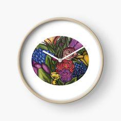 'Flower Bouquets ' Clock by Laurajart Buy Flowers, Bright Flowers, Modern Prints, Large Prints, Flower Bouquets, Quartz Clock Mechanism, Free Stickers, Hand Coloring, My Arts