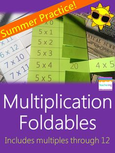 Master multiplication fact this summer with multiplication foldables!! Learn multiplication facts over vacation one foldable page at a time and be prepared for fall. No more losing math flashcards. Shows commutative property. Also perfect for math centers, practice homework, or print at 85% for interactive notebooks (ISNs). Multiplication facts 0 through 12. #Teachering