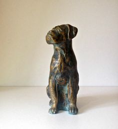 Boxer Dog Sculpture,  Bronze Effect Dog Sculpture, Vintage Dog Sculpture, Obedient Dog, Lifelike Boxer Dog Sculpture,