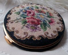 vintage petit point compact needlepoint flower by TheParisCarousel, $45.00