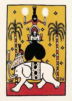 Rudolf Kalvach. Humoristische Karte. Wiener Werkstätte-Postkarte Nr. 59. Farblithographie. 1907