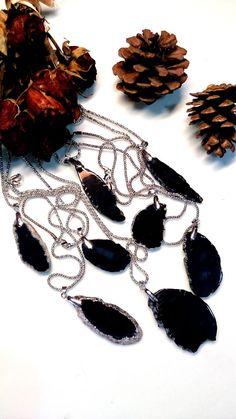 Black Agate slice Necklace gift woman wife by AccessoriesByAtlas