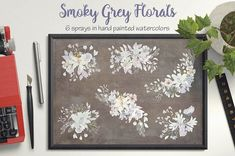 Delightful watercolor sprays in shades of smoky grey, blue, lilac and ivory. Lovingly created in hand painted watercolors. The listing is for 6 dainty sprays. Wedding Clip, Wreath Watercolor, Floral Border, Graphic Illustration, Design Bundles, Sprays, Paper Crafts, Clip Art, Hand Painted