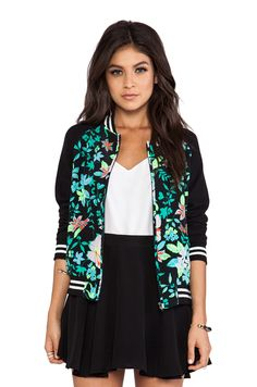 Lovers + Friends Baseball Jacket in Electric Hibiscus from REVOLVEclothing