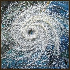 """Yulia Hanansen ~ """"Landfall"""" : A hurricane is pictured making a landfall over the Eastern Coast of US. Although most of the scenery is obscured by the cloud cover, one can only imagine the level of destruction a hurricane can cause."""
