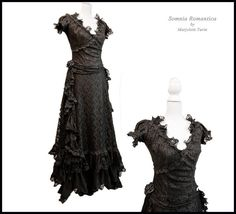 Dress black lace, S/M victorian, art nouveau. edwardian, 2 piece, Somnia Romantica by Marjolein Turin