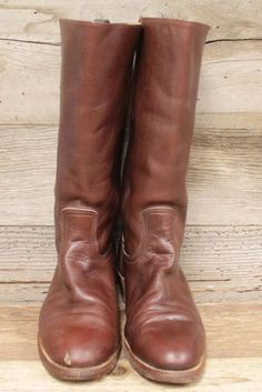 Mens-Leather-Frye-Vintage-Stove-Pipe-Western-Motorcycle-Boots-Sz-10D