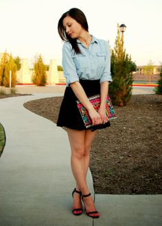 denim shirt, black skirt, heels, clutch