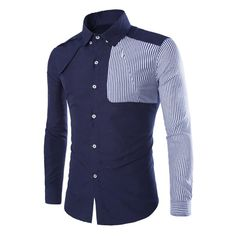 Modish Slimming Shirt Collar Color Block Vertical Stripe Splicing Long Sleeve Polyester Shirt For Men Nigerian Men Fashion, African Men Fashion, Mens Designer Shirts, Designer Wear, African Shirts, Camisa Polo, Latest Mens Fashion, Men Style Tips, Collar Shirts