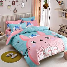 Include:four-piece bed bedding pillowcase) feet)the bed is a bed bedding pillowcase )Material: cotton St Cute totoro students bed sheet set Totoro, King Bedding Sets, Comforter Sets, King Comforter, Toddler Girl Bedding Sets, Cute Bedding, Gray Bedding, Bedding Decor, Boho Bedding