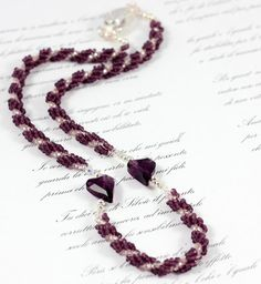 Beaded Purple Heart Necklace Seed Bead Rope Beadwork Jewelry on Etsy, $39.00