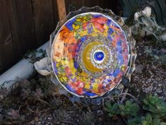 Plate Flowers. #239  Drought Resistant.         Garden Yard Art glass and ceramic plate flower