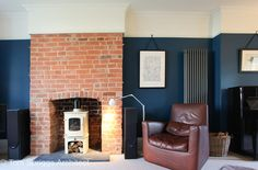 Latest No Cost blue Brick Fireplace Ideas Valspar Under the deep blue sea, alternative to Hague blue with Charnwood cove 1 stove and exposed Dark Blue Rooms, Dark Blue Living Room, Dark Blue Walls, Exposed Brick Fireplaces, Brick Room, Open Plan Kitchen Living Room, Dining Room, Brick Interior, Interior Design