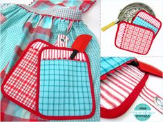 Nostalgic Hot Pads in Wee Wovens Brights by Moda | Sew4Home. Love this idea. I would put clips on both sides of the aprons with a little longer tab so you can use them right from your apron.