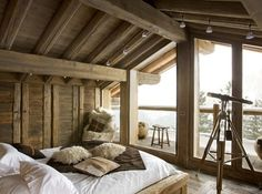 Chalet Bedroom with Balcony - Discover home design ideas, furniture, browse photos and plan projects at HG Design Ideas - connecting homeowners with the latest trends in home design & remodeling Chalet Design, Home Design, Chalet Style, Attic Design, Lodge Style, Cabin Homes, Log Homes, Master Bedroom, Bedroom Decor