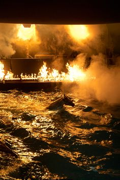 Fire scene shot on the underwater stage at Pinewood Studios (UK)